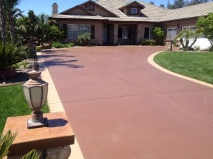 stained concrete driveway makeover