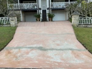 cracked stencil concrete driveway in avalon